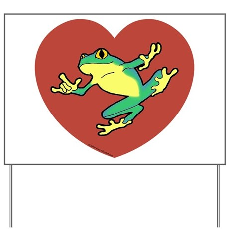 ASL Frog in Heart Yard Sign