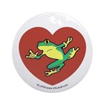 ASL Frog in Heart Ornament (Round)