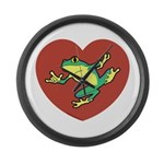ASL Frog in Heart Large Wall Clock
