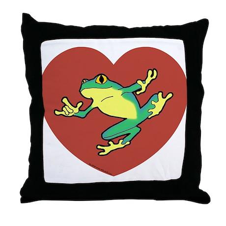 ASL Frog in Heart Throw Pillow