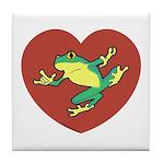 ASL Frog in Heart Tile Coaster