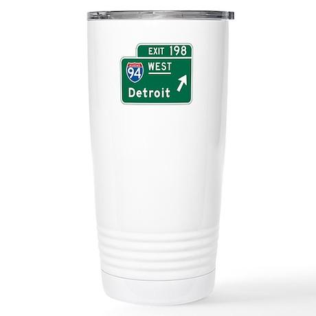 Detroit, MI Highway Sign Stainless Steel Travel Mu