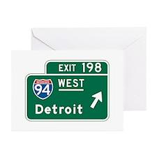 Detroit, MI Highway Sign Greeting Cards (Pk of 10)