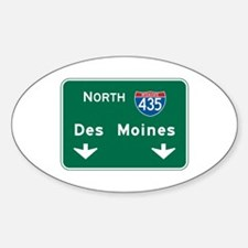 Des Moines, IA Highway Sign Oval Decal