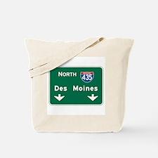 Des Moines, IA Highway Sign Tote Bag