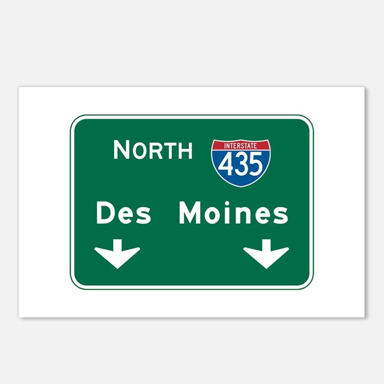 Des Moines, IA Highway Sign Postcards (Package of
