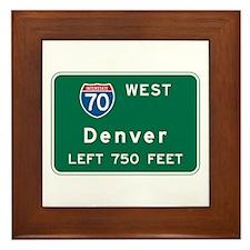 Denver, CO Highway Sign Framed Tile
