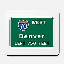 Denver, CO Highway Sign Mousepad