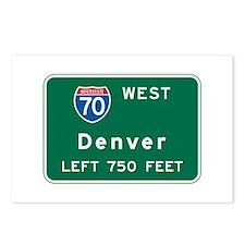 Denver, CO Highway Sign Postcards (Package of 8)
