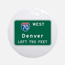 Denver, CO Highway Sign Ornament (Round)