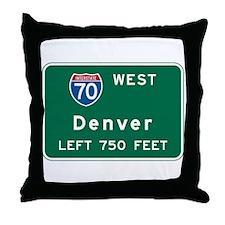 Denver, CO Highway Sign Throw Pillow