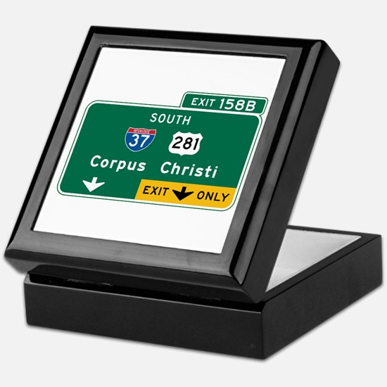 Corpus Christi, TX Highway Sign Keepsake Box
