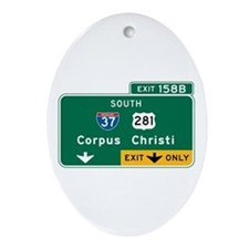 Corpus Christi, TX Highway Sign Oval Ornament