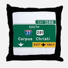 Corpus Christi, TX Highway Sign Throw Pillow