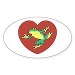 ASL Frog in Heart Oval Sticker (50 pk)