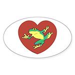 ASL Frog in Heart Oval Sticker