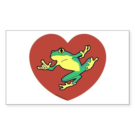 ASL Frog in Heart Rectangle Sticker