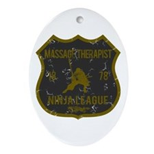 Massage Therapist Ninja League Oval Ornament