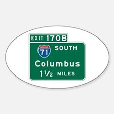 Columbus, OH Highway Sign Oval Decal