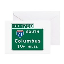 Columbus, OH Highway Sign Greeting Cards (Pk of 10