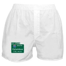 Columbus, OH Highway Sign Boxer Shorts
