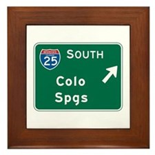 Colorado Springs, CO Highway Sign Framed Tile