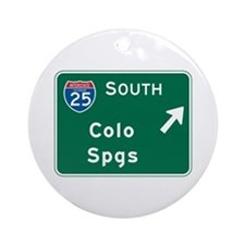 Colorado Springs, CO Highway Sign Ornament (Round)