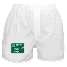 Colorado Springs, CO Highway Sign Boxer Shorts