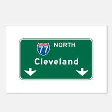 Cleveland, OH Highway Sign Postcards (Package of 8