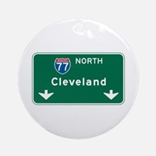 Cleveland, OH Highway Sign Ornament (Round)