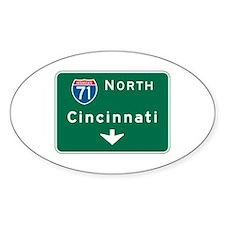 Cincinnati, OH Highway Sign Oval Decal