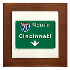 Cincinnati, OH Highway Sign Framed Tile