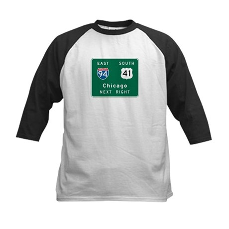 Chicago, IL Highway Sign Kids Baseball Jersey