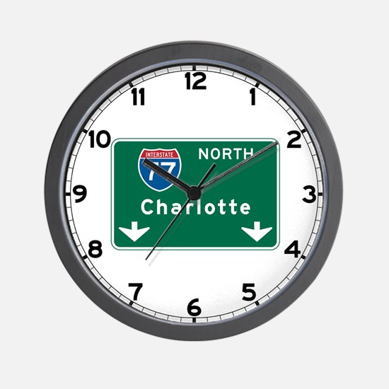 Charlotte, NC Highway Sign Wall Clock