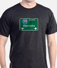 Charlotte, NC Highway Sign T-Shirt