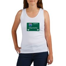 Charlotte, NC Highway Sign Women's Tank Top