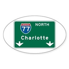 Charlotte, NC Highway Sign Oval Decal