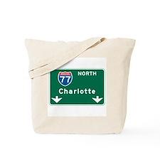 Charlotte, NC Highway Sign Tote Bag