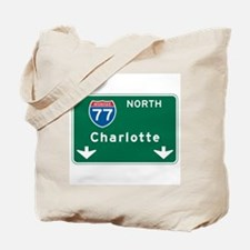 Charlotte, NC Highway Sign Tote Bag