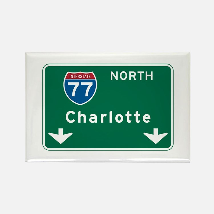 Charlotte, NC Highway Sign Rectangle Magnet (10 pa