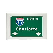 Charlotte, NC Highway Sign Rectangle Magnet