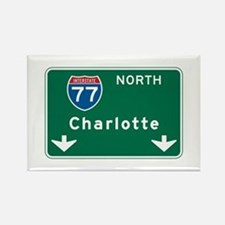 Charlotte, NC Highway Sign Rectangle Magnet