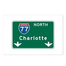 Charlotte, NC Highway Sign Postcards (Package of 8