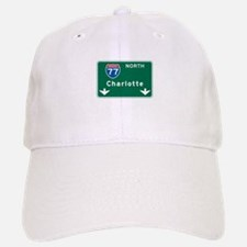 Charlotte, NC Highway Sign Baseball Baseball Cap