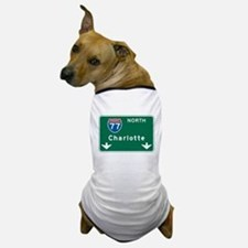 Charlotte, NC Highway Sign Dog T-Shirt