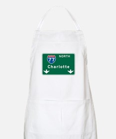Charlotte, NC Highway Sign BBQ Apron