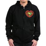 ASL Frog in Heart Zip Hoodie (dark)