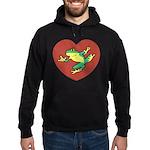ASL Frog in Heart Hoodie (dark)