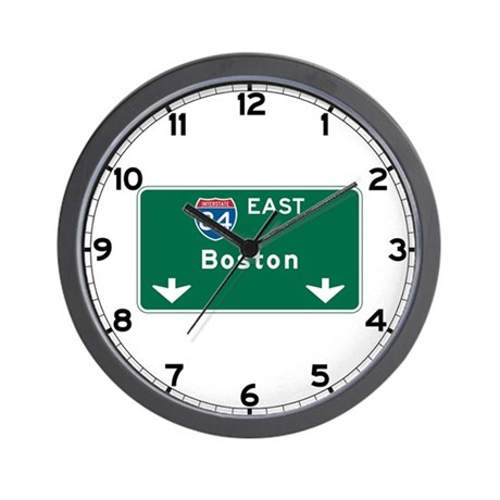 Boston, MA Highway Sign Wall Clock