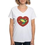 ASL Frog in Heart Women's V-Neck T-Shirt